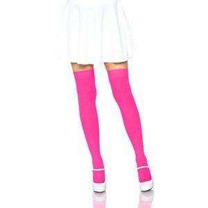 NWT Leg Avenue Women's Neon Pink Thigh High Halloween Stockings - One Size